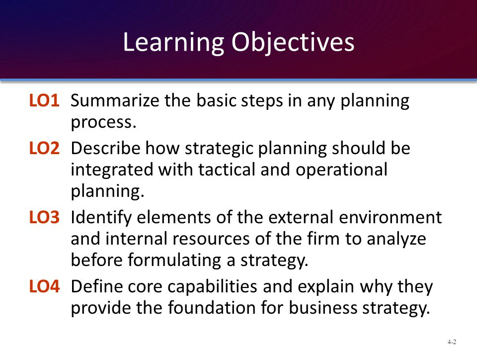 Learning Objectives LO1 Summarize the basic steps in any planning process.