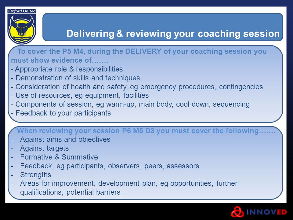 Delivering & reviewing your coaching session