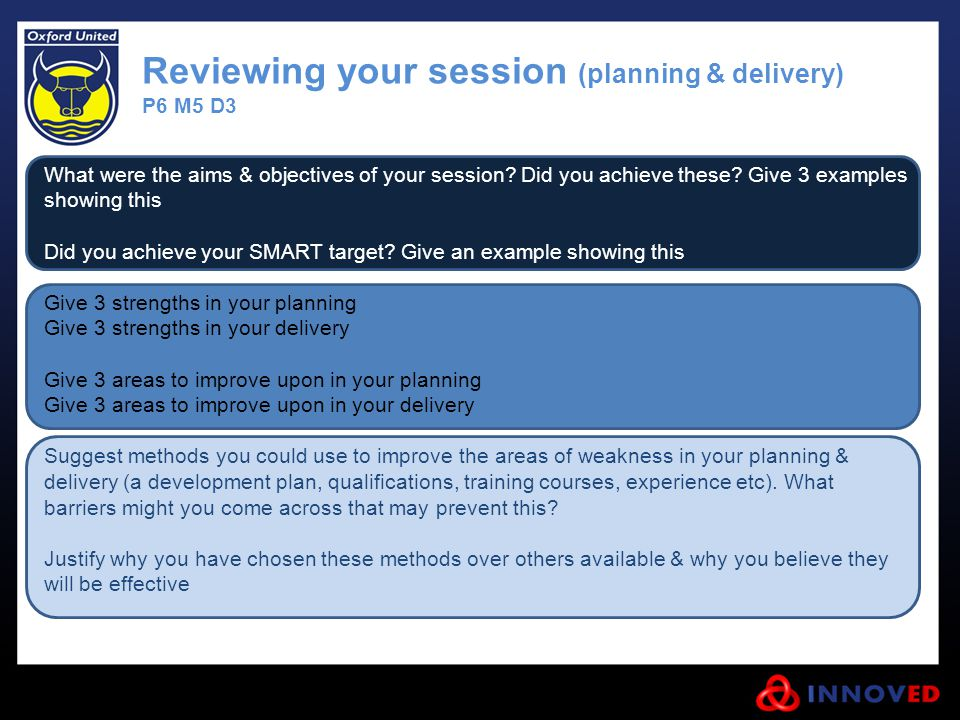 Reviewing your session (planning & delivery)