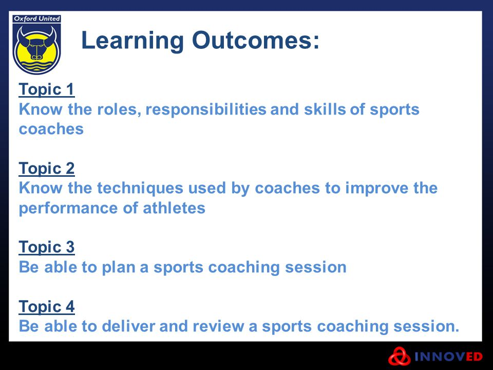 Learning Outcomes: Topic 1