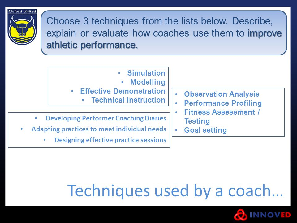 Techniques used by a coach…