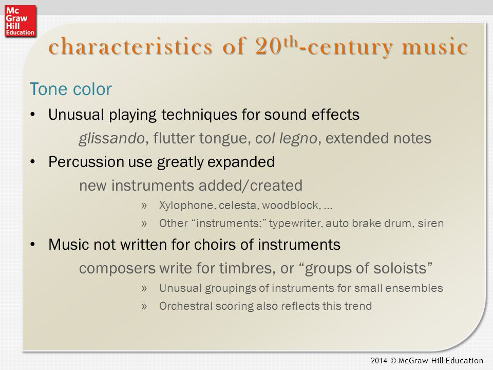 main composers characteristics and vocal approaches Conservative approaches to modern art music some modern composers have chosen to write in the traditional genres of opera , ballet , symphony , string quartet , sonata and concerto  even so, most of these works are conceived in untraditional ways, with freer formal designs, unconventional harmonies and melodies, etc.