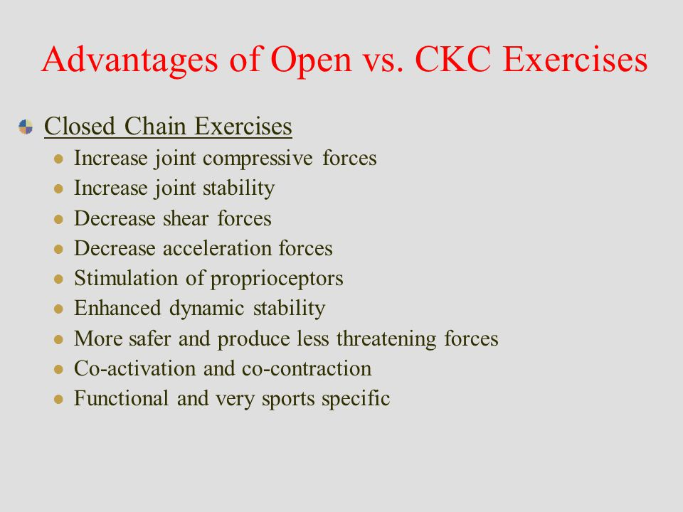 Kinetic Chain Exercises Open vs. Closed Kinetic Chain ...