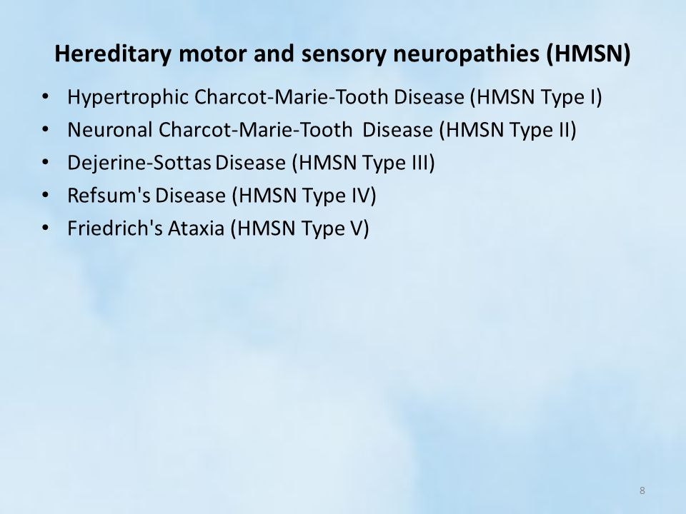 Peripheral nervous system disorders ppt video online Hereditary motor neuropathy