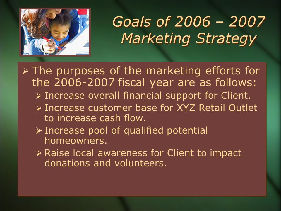 Goals of 2006 – 2007 Marketing Strategy