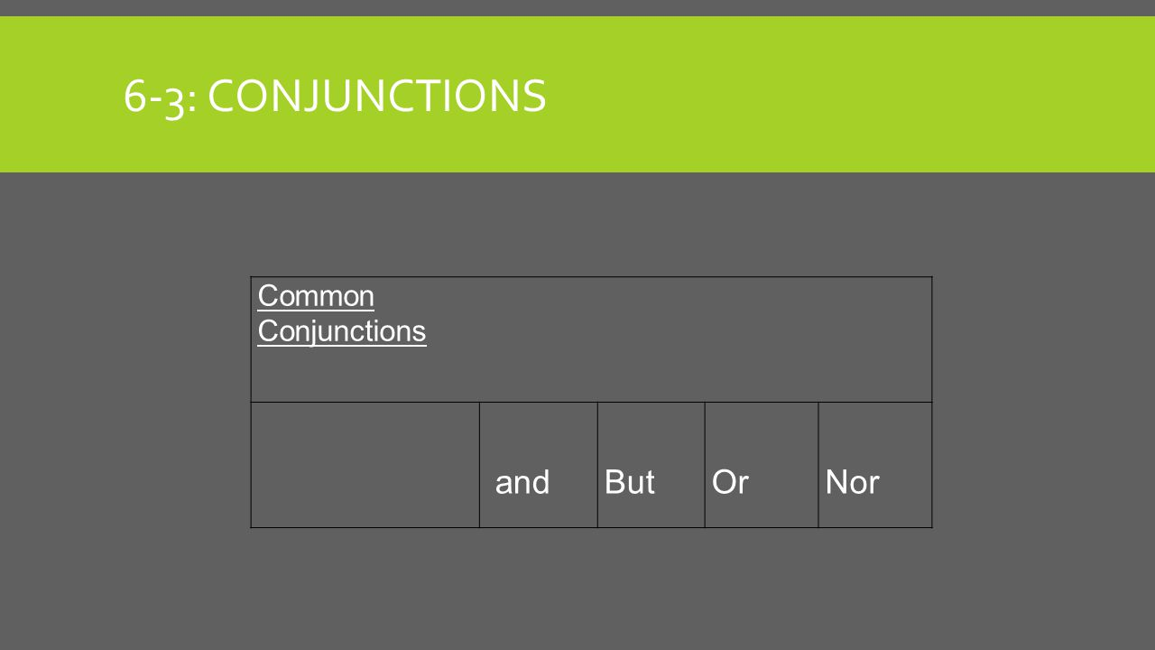 6-3: Conjunctions Common Conjunctions and But Or Nor