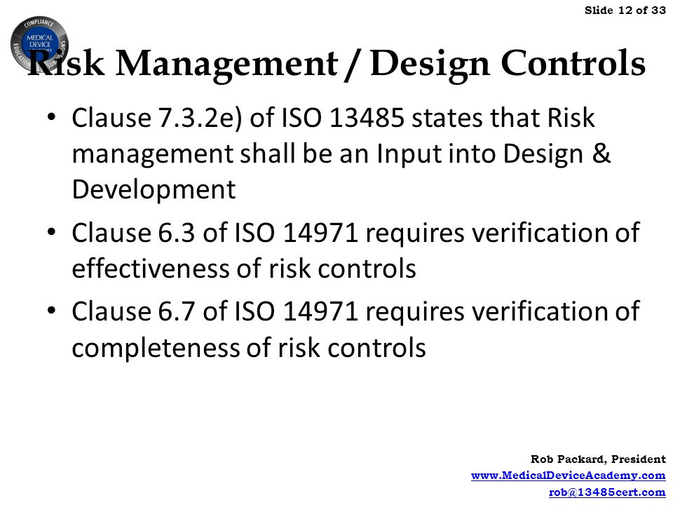 Risk Management / Design Controls