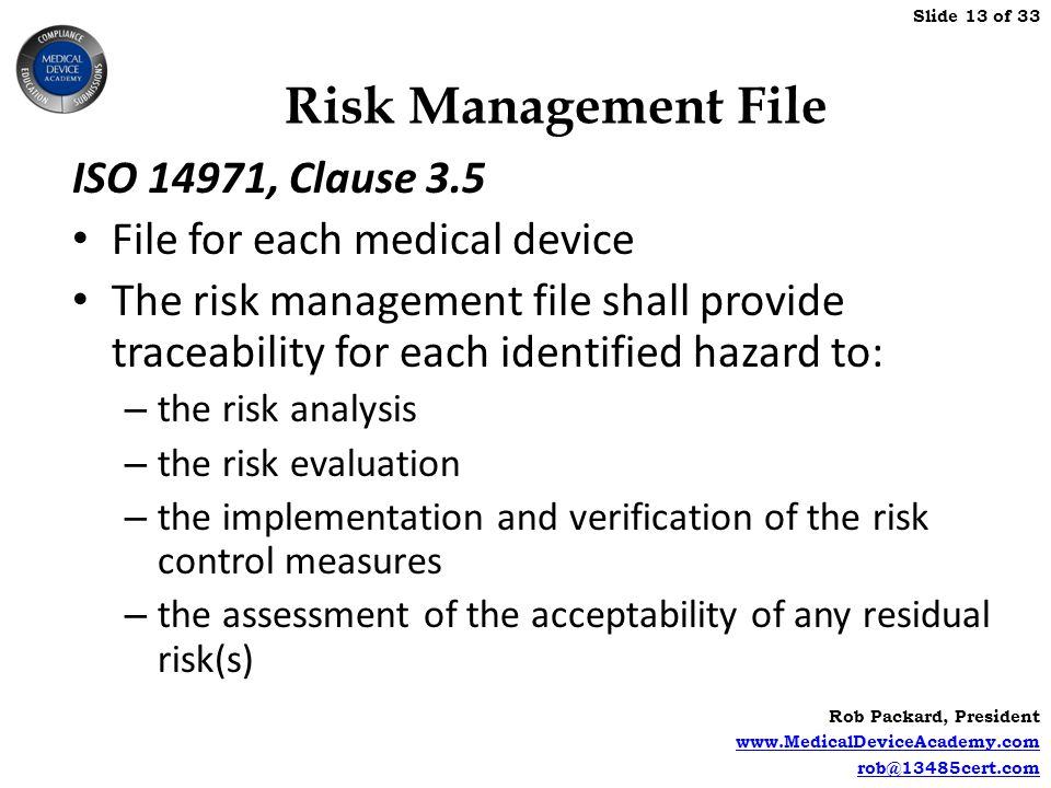 Risk Management File ISO 14971, Clause 3.5