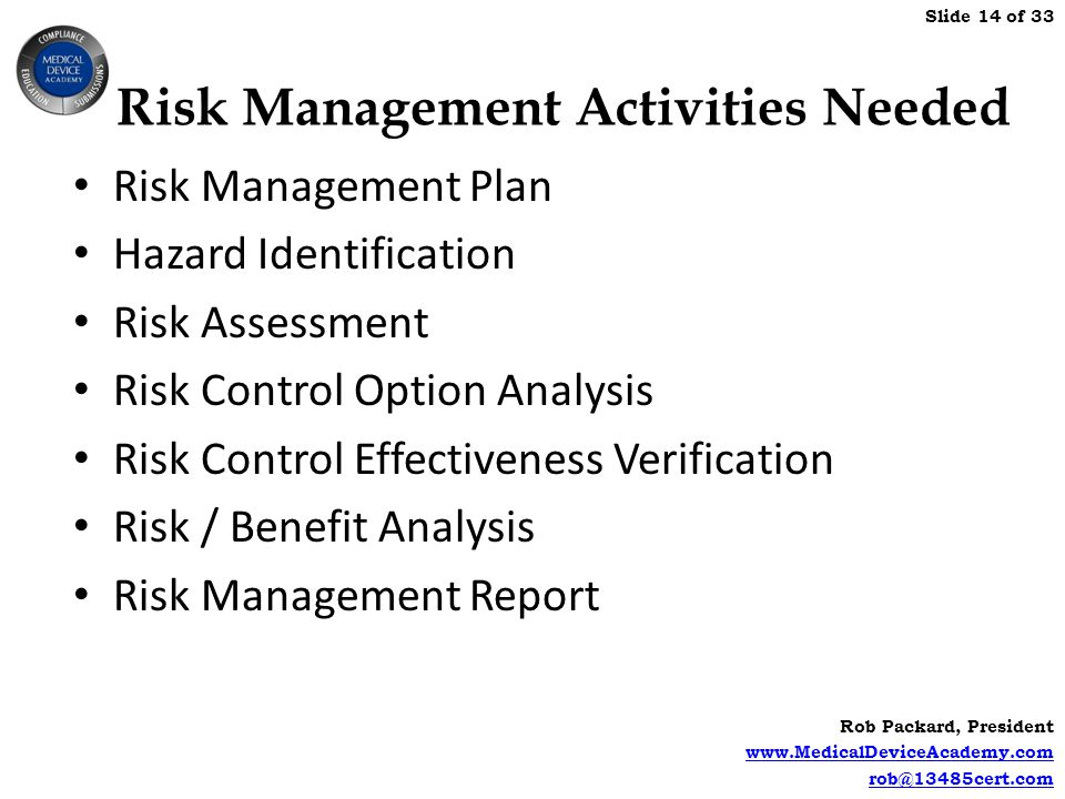 Risk Management Activities Needed