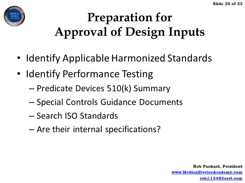 Preparation for Approval of Design Inputs