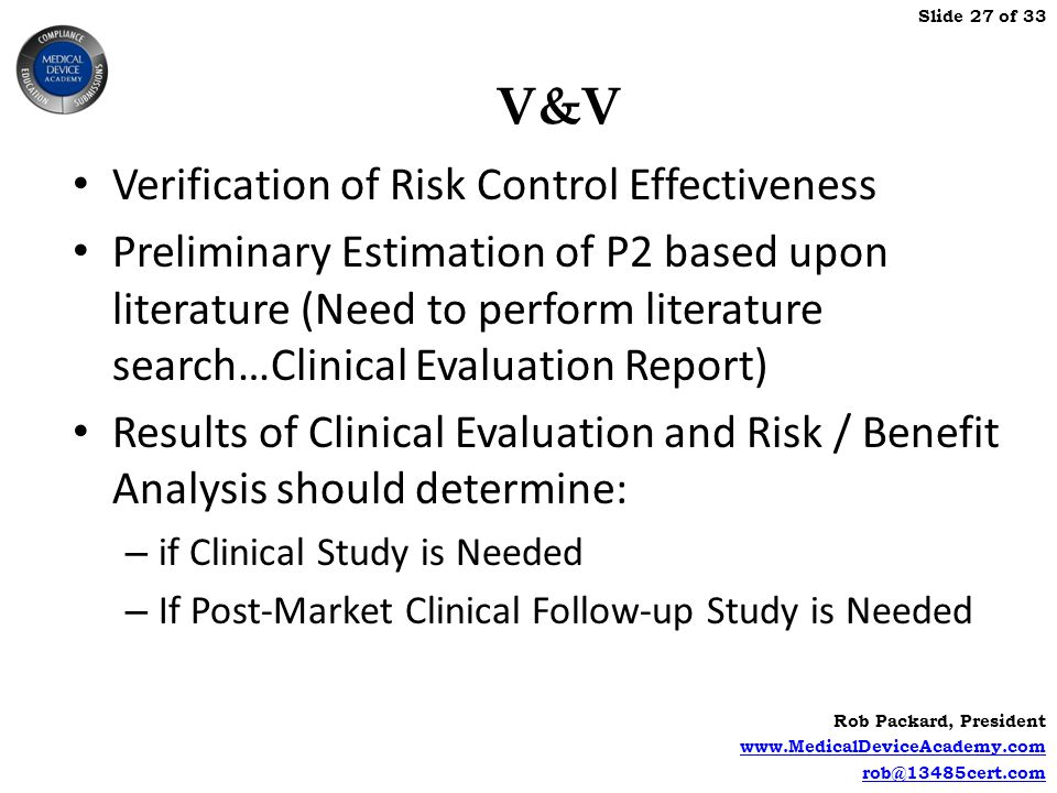 V&V Verification of Risk Control Effectiveness
