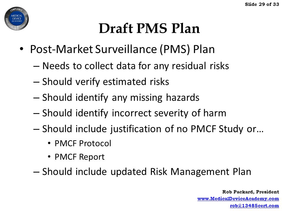 Draft PMS Plan Post-Market Surveillance (PMS) Plan
