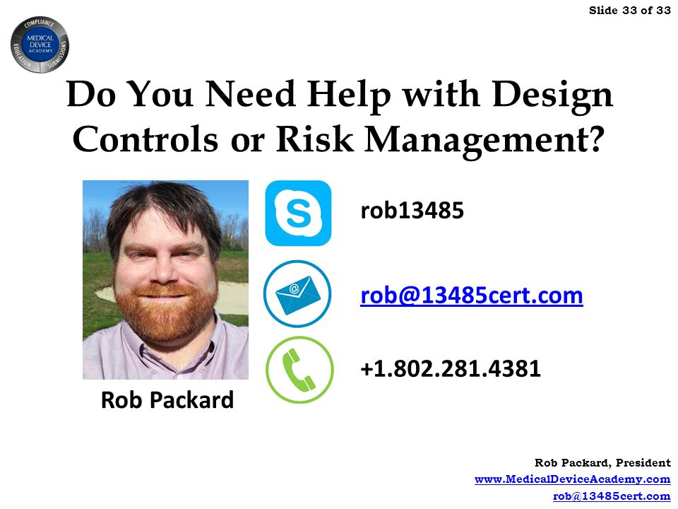 Do You Need Help with Design Controls or Risk Management