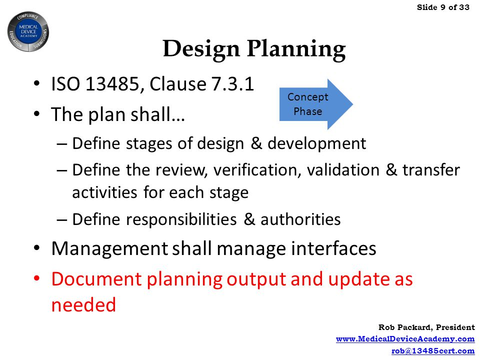 Design Planning ISO 13485, Clause The plan shall…