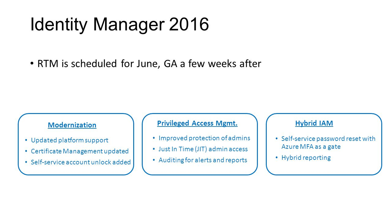 Hybrid reporting in identity manager ppt video online download identity manager 2016 rtm is scheduled for june ga a few weeks after xflitez Choice Image