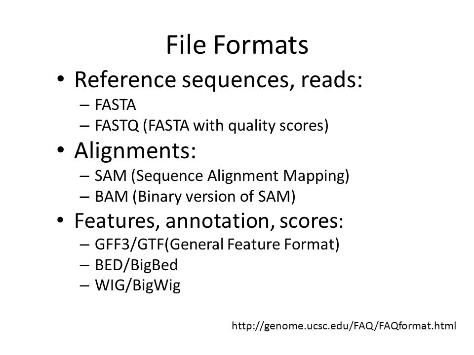 File Formats Reference sequences, reads: Alignments: