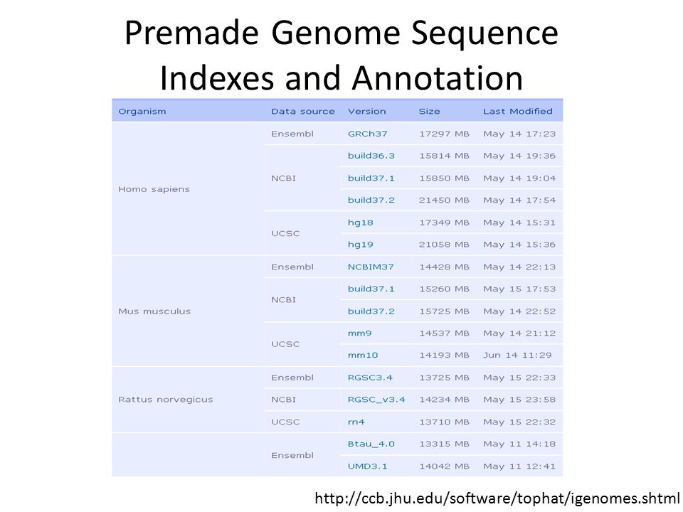 Premade Genome Sequence Indexes and Annotation