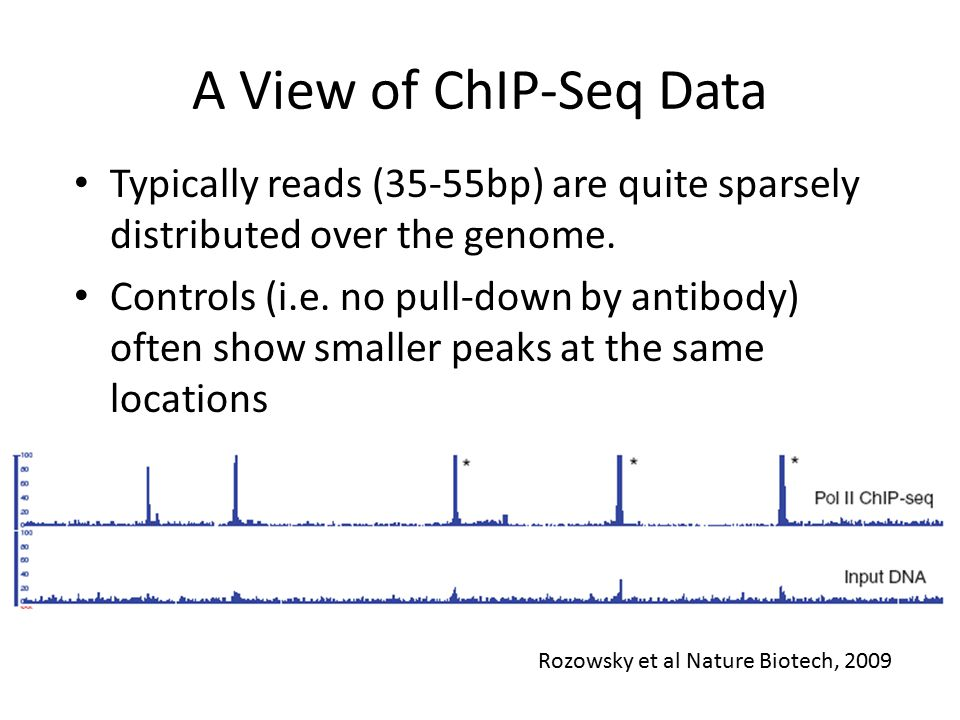 A View of ChIP-Seq Data Typically reads (35-55bp) are quite sparsely distributed over the genome.