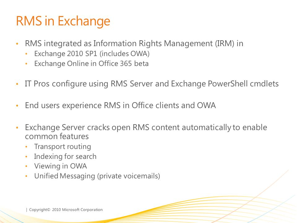 Joe schulman program manager forefront for office ppt - Rights management services office 365 ...