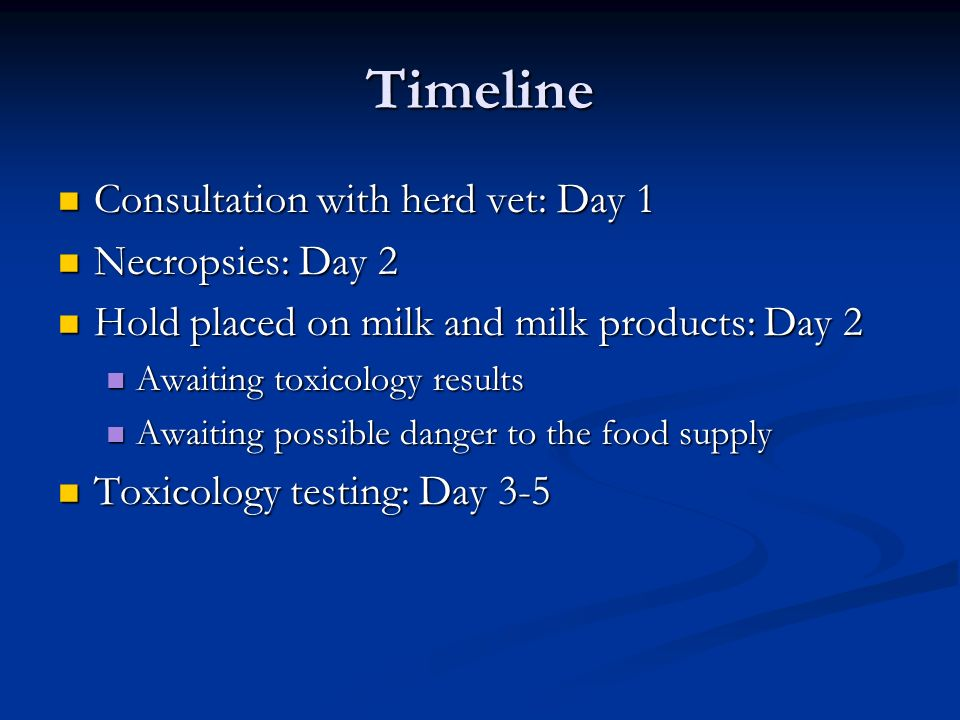 Timeline Consultation with herd vet: Day 1 Necropsies: Day 2