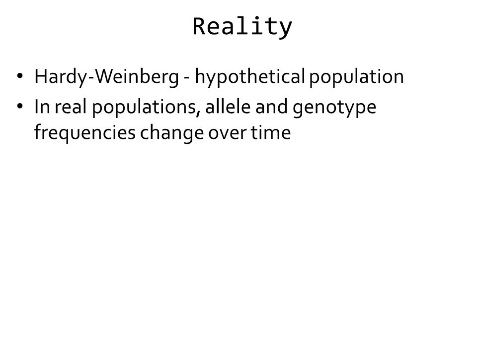 Reality Hardy-Weinberg - hypothetical population