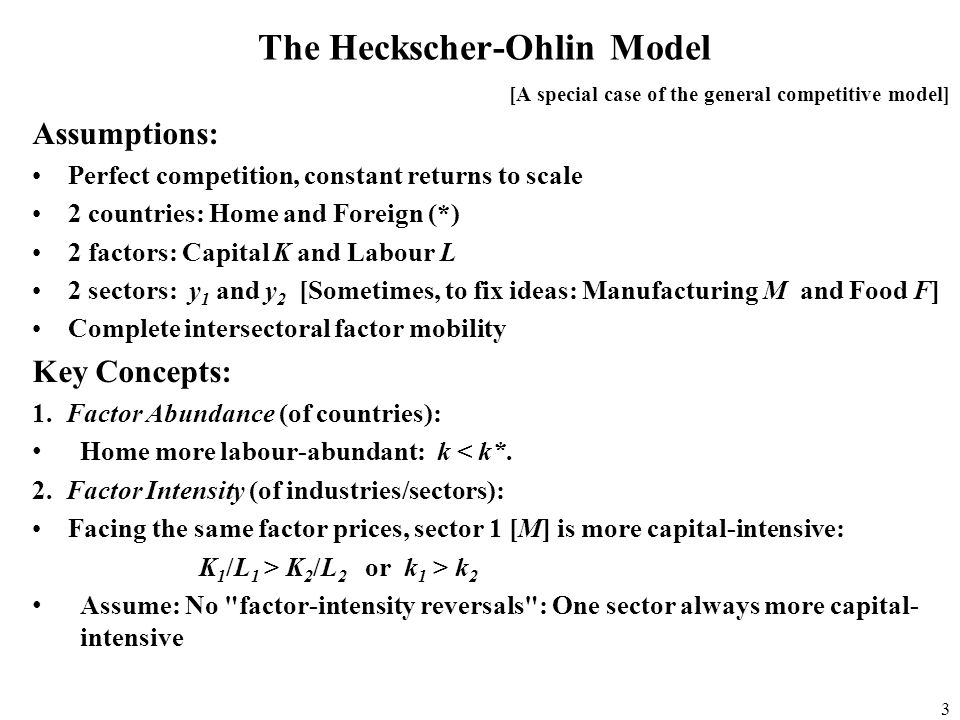assumptions of the heckscher ohlin model economics essay The heckscher-ohlin (factor proportions) model table of contents 60-0 60-1 chapter overview h-o model assumptions 60-1a  the heckscher-ohlin theorem.