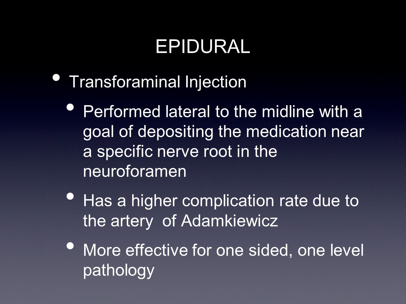 EPIDURAL Transforaminal Injection