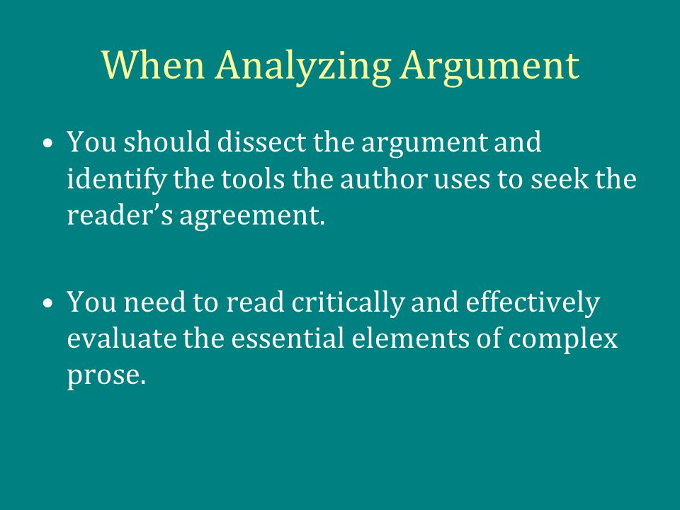 analyzing the argument essay Objective: swbat explain and evaluate arguments or claims in a text introduce  claims with sound evidence and reasons in an compare/contrast essay.