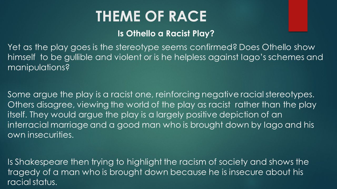 shakespeare s othello ppt video online  theme of race