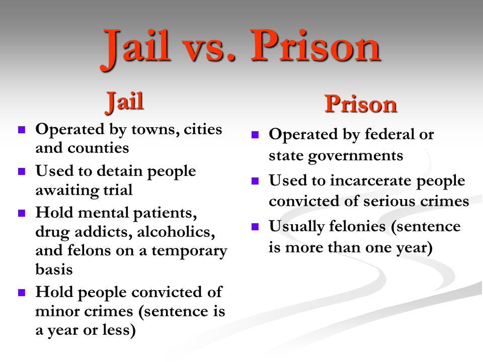 jails vs prisons There are also two kinds of jails: state prisons and county houses of correction  the massachusetts district courts can only hear cases that include possible.