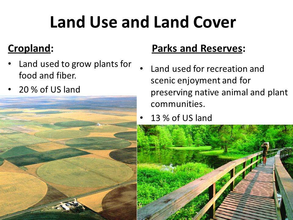 Land Use and Land Cover Cropland: Parks and Reserves: