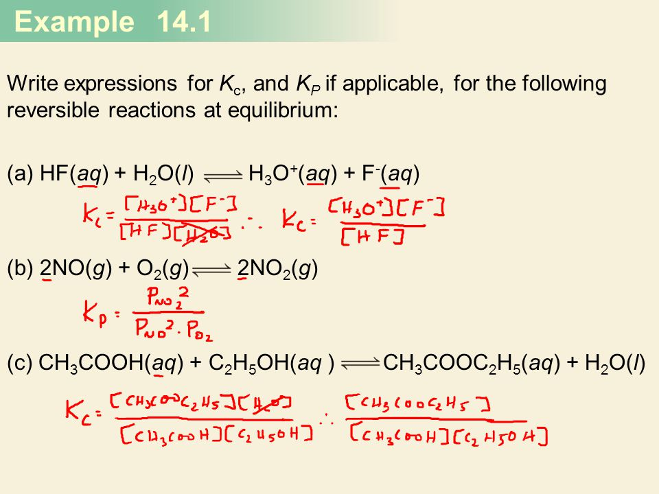 Writing Equilibrium Constant Expressions Involving Gases