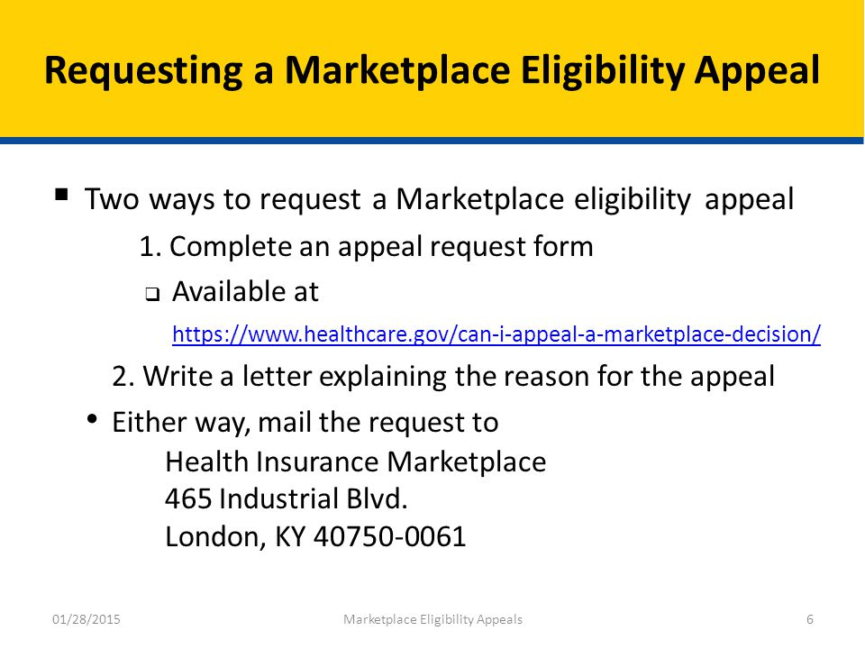 Marketplace Eligibility Appeals - ppt download