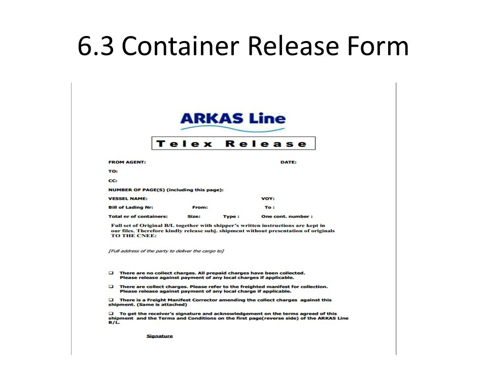 6 Port Documentations 61 Related documents ie ISD IED IID – Shipment Release Authorization Form
