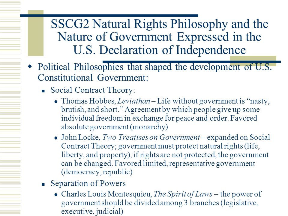 the application of natural rights philosophy in the us politics Human rights: chimeras in sheep's c l othing  natural rights is simple nonsense:  the history of political philosophy has been one of.