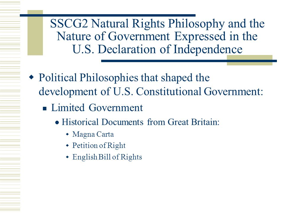 The application of natural rights philosophy in the us politics