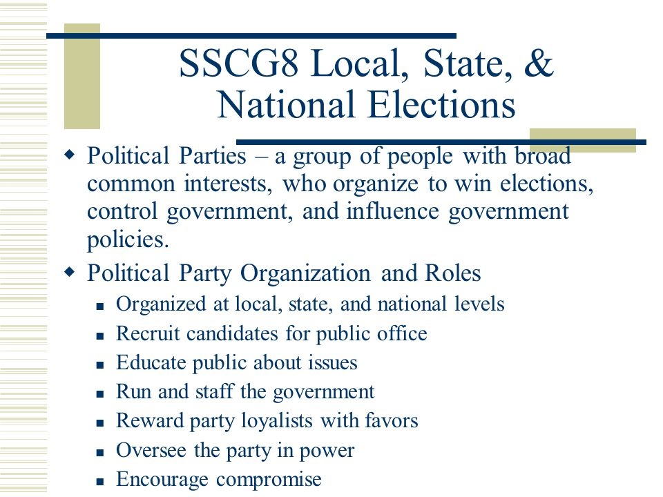 the roles of political parties in elections in the united states The united states constitution does not mention political parties, primarily because the founding fathers did not intend for american politics to be partisan in federalist papers no 9 and no 10 , alexander hamilton and james madison , respectively, wrote specifically about the dangers of domestic political factions.