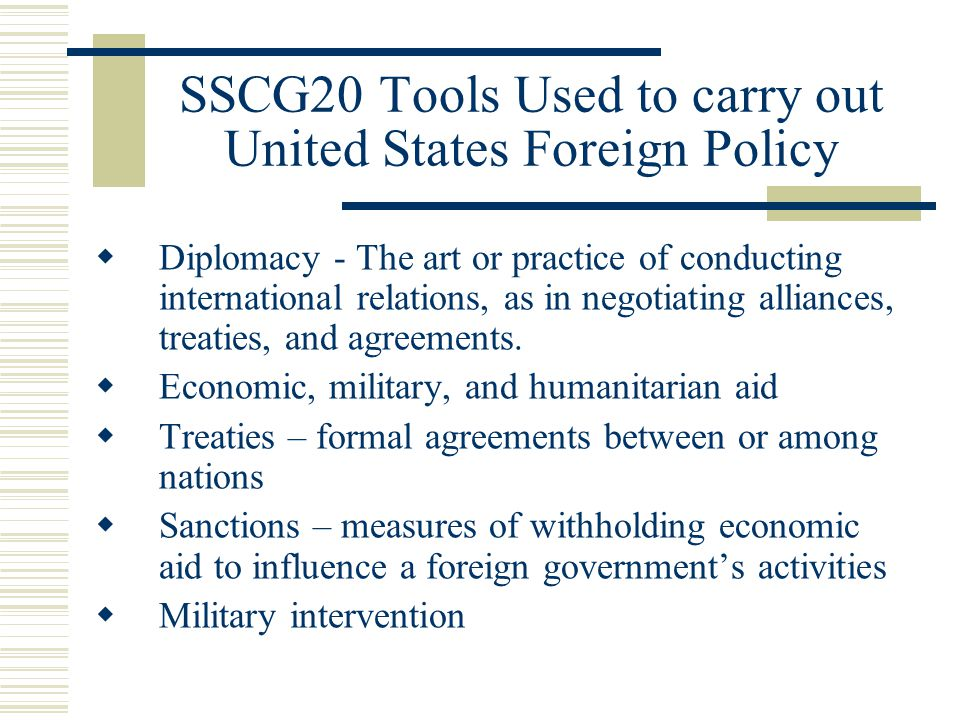 military government involvement in foreign affairs Start studying ap government foreign and military policy  that the conduct of foreign affairs is a political  to us involvement in other countries.