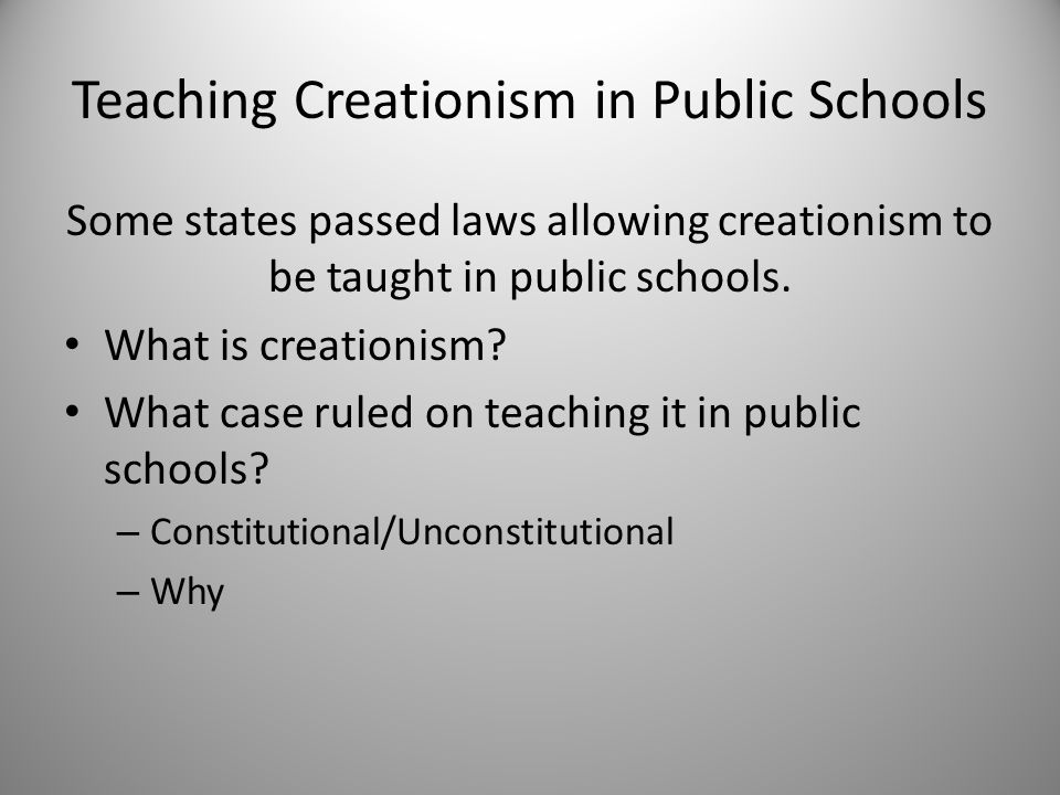 creationism in the public schools essay Read creationism and public schools free essay and over 88,000 other research documents creationism and public schools creationism and public schools the issue of whether creationism.
