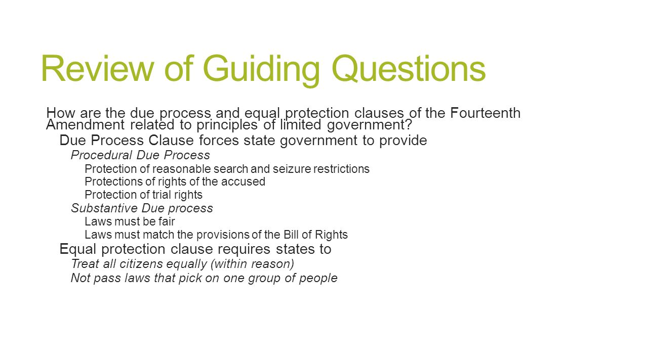 equal protection and due process clauses essay The course will deal with the problems of defining the scope of federal power, the relationship between the federal government and the states, the scope of state authority, and the rights of individuals with an emphasis on those rights guaranteed by the due process and equal protection clauses of the constitution.