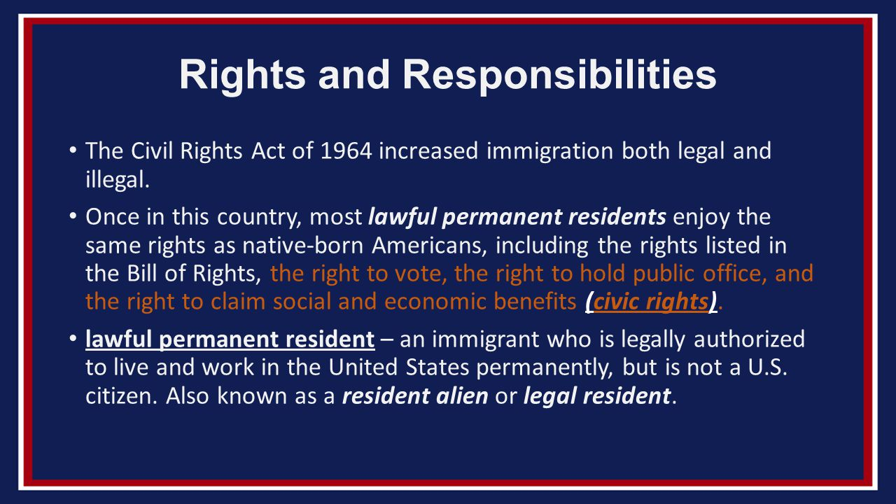 civil rights and responsibilities Civil rights — such as voting and owning property — in early america were  mostly restricted to white men most african americans were brought to america  as.