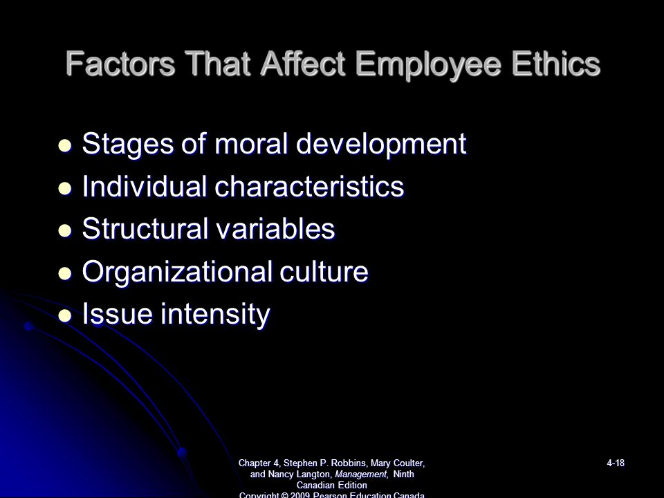 Factors which influences individual ethics