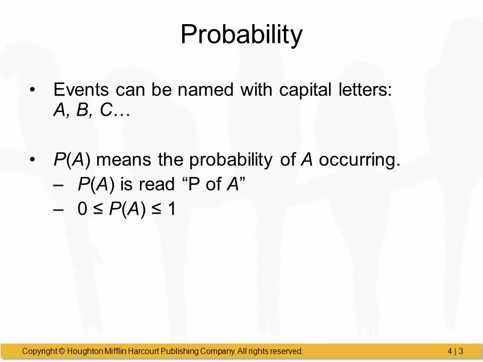 Probability Events can be named with capital letters: A, B, C…