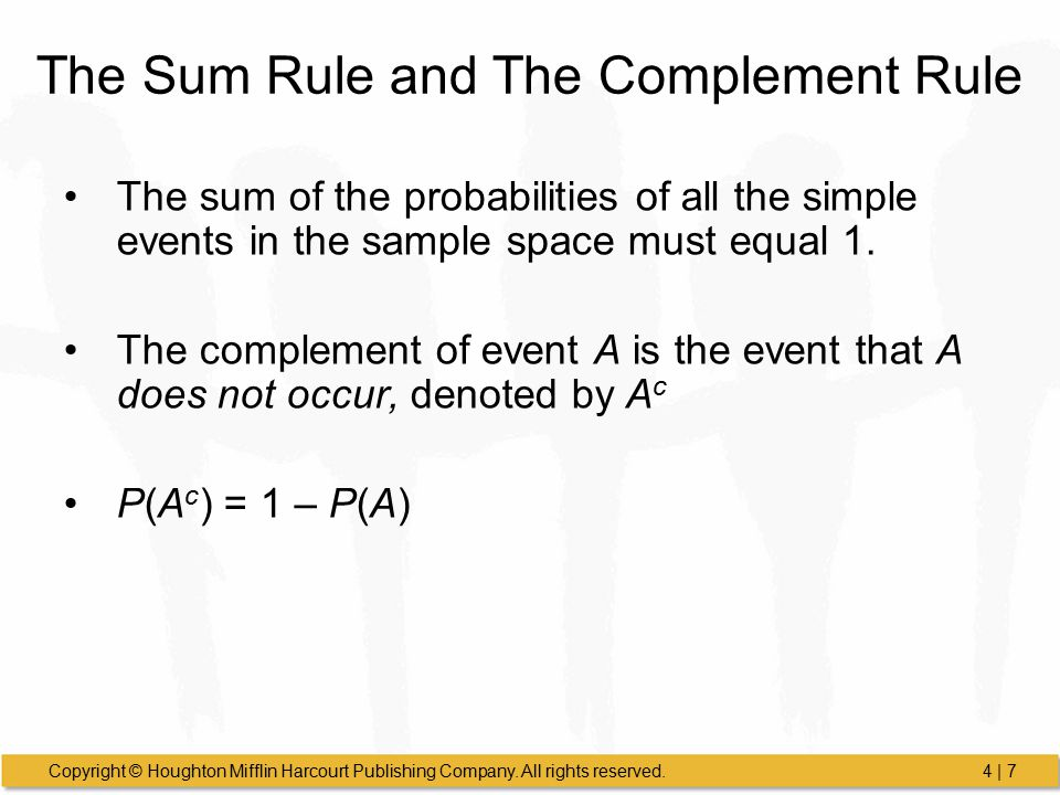 The Sum Rule and The Complement Rule