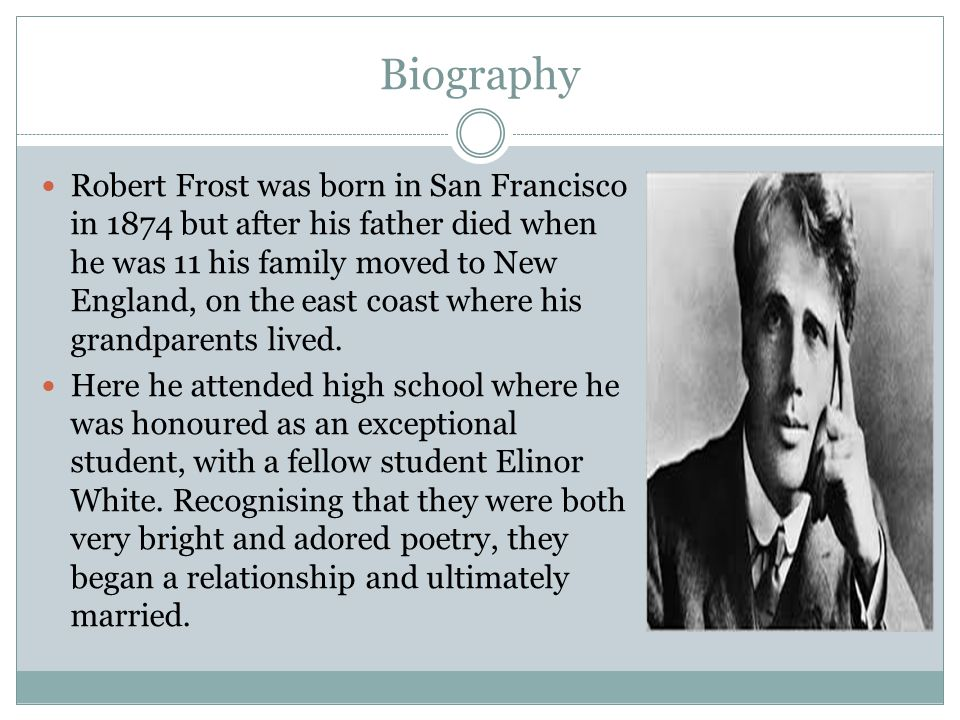 "robert frost the new england poet Robert frost has long dominated the public's image of new england poetry   inside and outside the region, frost has come to personify the ""new england  poet."