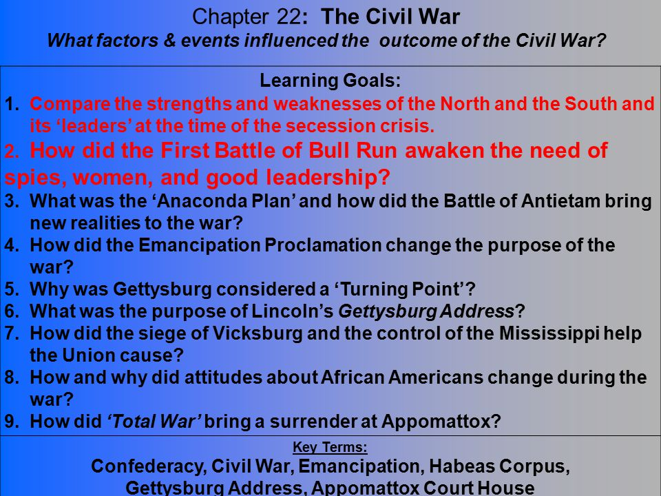 determining the outcome of the civil war As lincoln implied in his brief address at the gettysburg cemetery in november, 1863, beginning with forescore and seven, the civil war, the outcome of which was still far from determined.