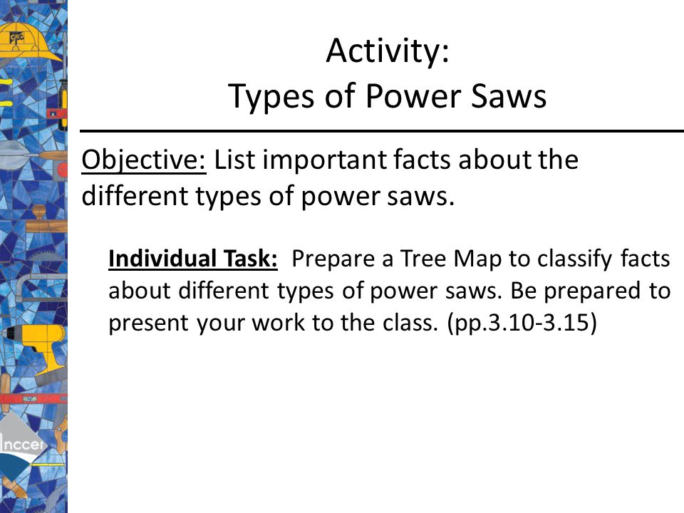 activity types of power saws