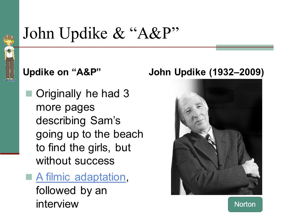 the a p john updikes a Patrick hanks a&p- in john updikes a&p, choices and consequences are portrayed as a fundamental and recurring theme throughout the story many can understand the idea of repercussions for specific decisions and actions, which makes this story very relatable to most audiences.