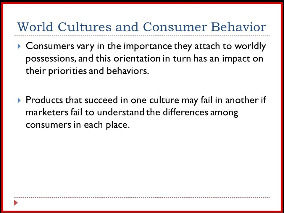 impact of culture and subculture on consumers behavior The present study aims at finding out the impact of the social, cultural and marketing factors on the buying behavior of the customers that effects the marketing.