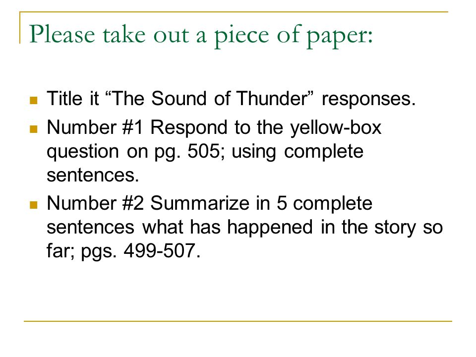 a sound of thunder paragraph essay I have to write a five paragraph essay on elements of suspense that are exemplified through sound, characters, and setting in a sound of thunder.